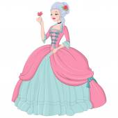 Rococo lady in pink dress Vector illustration isolated on white