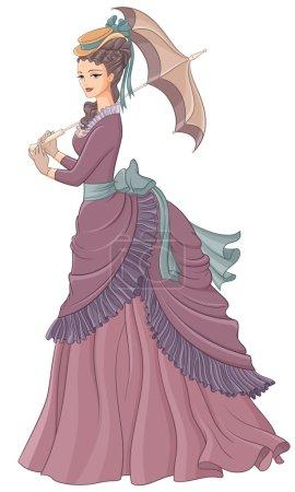 Illustration pour Dame antique habillée avec parapluie. Illustration vectorielle de mode de style victorien isolée sur fond blanc . - image libre de droit