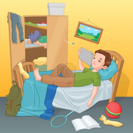 Lazy young boy lying on bed with tablet. Vector il...