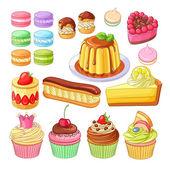 Vector set of colorful desserts macarons profiteroles pie strawberry fraisier eclair lemon cake flan meringues and cupcakes