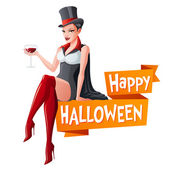Brunette woman sitting with glass of wine in Dracula vampire Halloween costume and fangs Cartoon style vector illustration with text isolated on white background