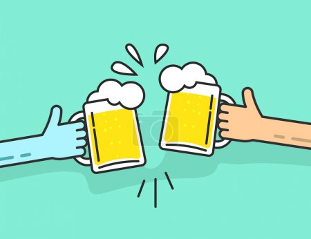 Two abstract hands holding beer glasses, beer glasses foam clinking, friends toasting, concept of cheering people party celebration in pub, flat outline art line design vector illustration isolated