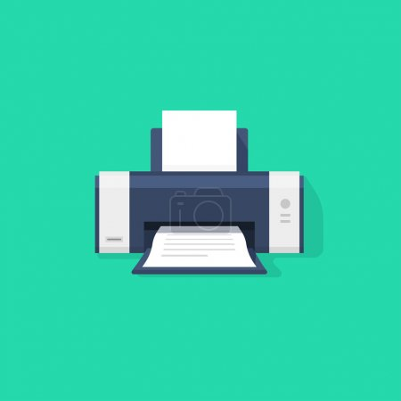 Printer flat vector icon with shadow