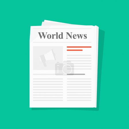 Newspaper folded vector icon front page top view