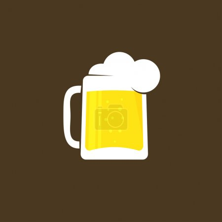 Verre à bière blanc avec modèle de logo vectoriel en mousse