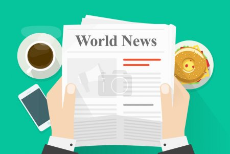 Business man hands holding newspaper with world news words