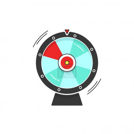 Illustration for Wheel of fortune spinning vector icon illustration isolated on white background, flat cartoon design - Royalty Free Image