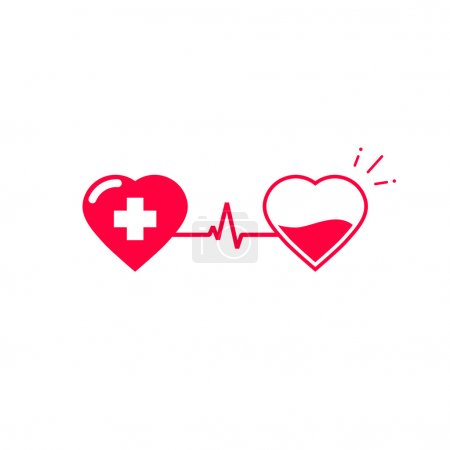 Blood donation vector symbol, two hearts connected...