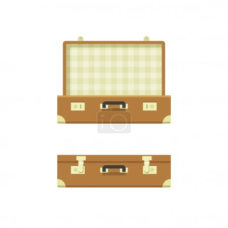 Illustration for Suitcase open, suitcase closed vector illustration isolated on white background, textured suitcase opened and closed, travel suitcases flat cartoon case design - Royalty Free Image