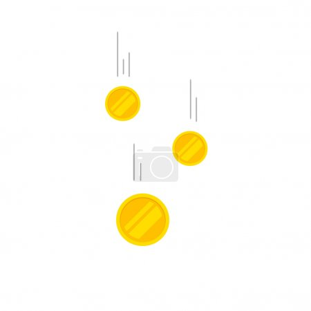 Falling coins money vector illustration, flying gold