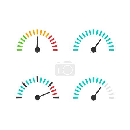 Illustration pour Illustration vectorielle du jeu d'icônes du compteur de vitesse, élément de mesure de la vitesse avec échelle, indicateur de pression, symbole abstrait de l'outil de mesure, isolé sur fond blanc - image libre de droit