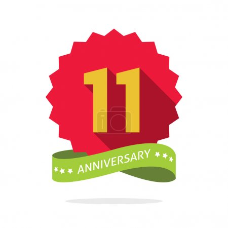 Anniversary 11th  badge with shadow on red starburst