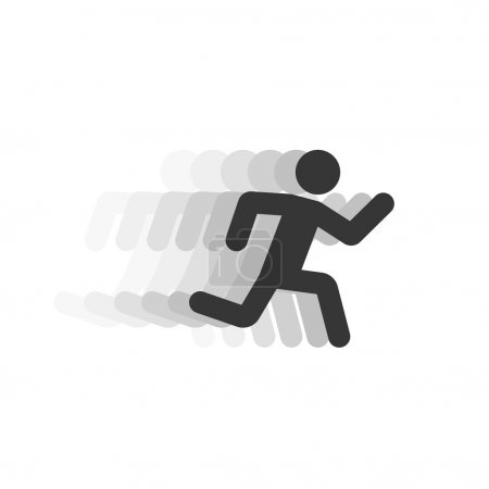 Black running man illustration with motion blur track