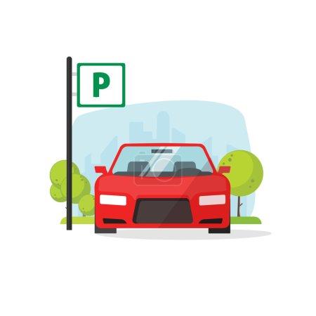 Illustration pour Illustration vectorielle du stationnement isolé sur blanc, panneau de stationnement plat près de la voiture garée, dessin animé conception de place de stationnement - image libre de droit