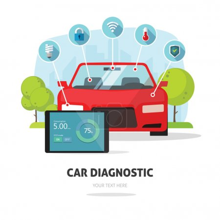 Car diagnostics test service, protection insurance concept parts service