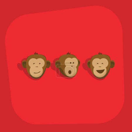 Illustration for Monkeys faces emotions vector flat card design. Ape flat style animal icon set isolated on red background. Monkey smile, wonder emoticons logo template with head of monkeys. Zoo pets cartoon concept - Royalty Free Image