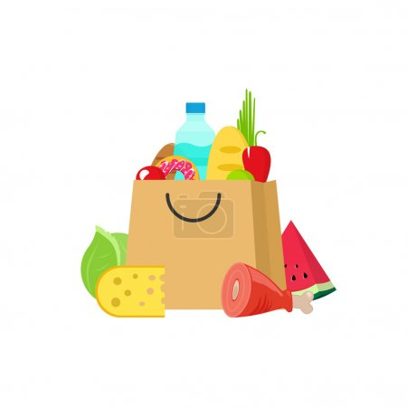 Photo pour Illustration vectorielle de sac d'épicerie isolée sur blanc, sac en papier d'épicerie dessin animé plat, sac à provisions d'aliments et de boissons frais, produits biologiques sains - image libre de droit