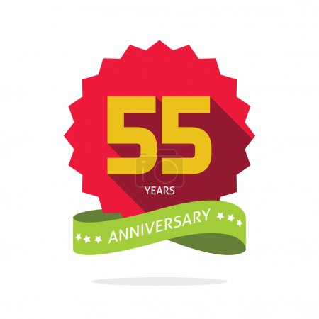 Years 55 anniversary vector label logo