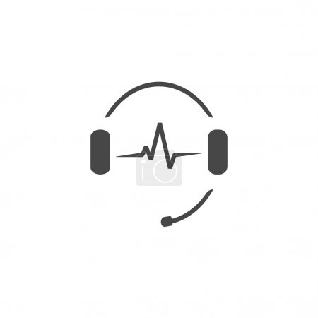 Headphones microphone, music sound waves, radio station logo