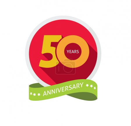 Fiftieth years anniversary logo, 50 year birthday sticker label