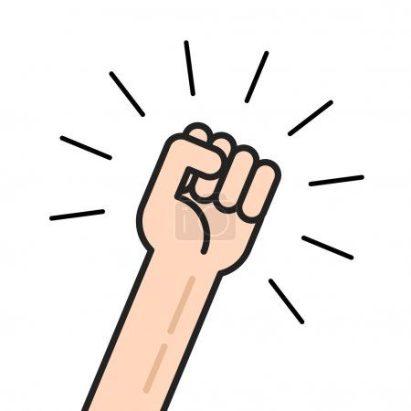 Fist vector icon, hand with shaking raised up isolated outline