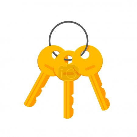 Keys on key ring vector illustration isolated