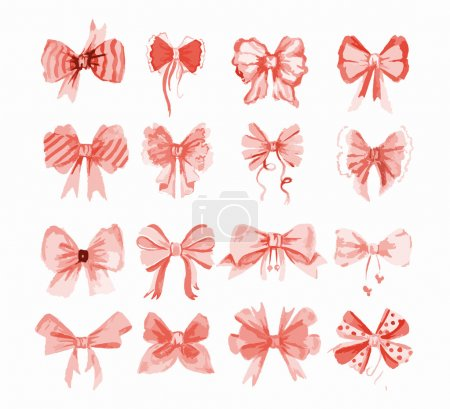 Illustration for Watercolor bow set. Different red or pink bows and ribbons for holidays, greeting and celebration as Christmas, birthday, Valentines day and wedding. - Royalty Free Image