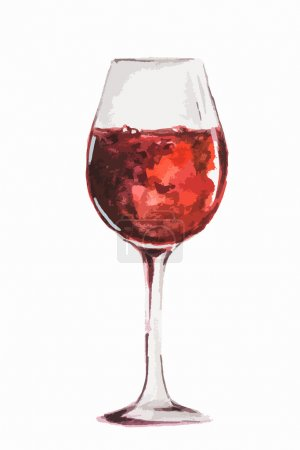 Illustration pour Verre à vin rouge aquarelle isolé sur fond blanc. Concept de célébration, menu détente ou restaurant . - image libre de droit