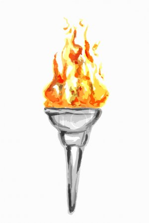 Gold torch with Olympic fireisolated on white.