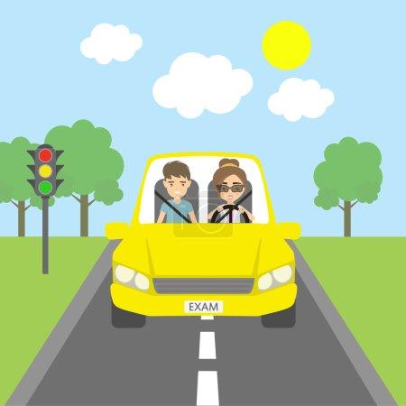 Illustration pour Bon test de conduite. Professeur souriant et étudiante conduisant en voiture jaune. Éducation à la conduite drôle . - image libre de droit