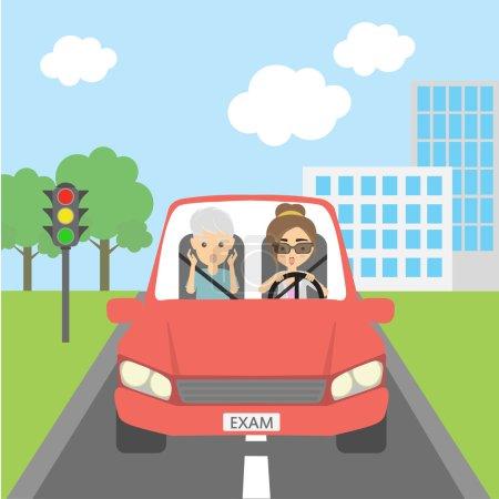Illustration pour Effrayé dans les cheveux gris passager masculin et conducteur féminin. Professeur et élève. Une fille qui passe son permis. Risque drôle de situation . - image libre de droit