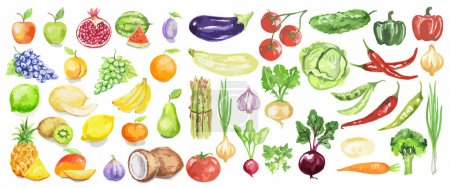 Watercolor fruit and vegetables set.