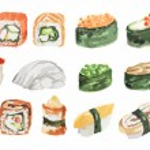 Постер, плакат: Watercolor sushi set