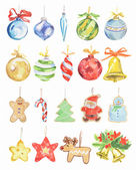 Watercolor christmas toys set