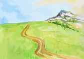 Watercolor rural landscape.