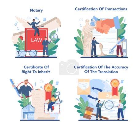 Juego de concepto de servicio notarial. Abogado profesional firma y legaliza