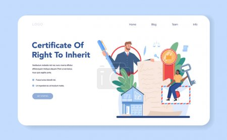 Heredar banner web de certificación o landing page. Firma notarial y legalización