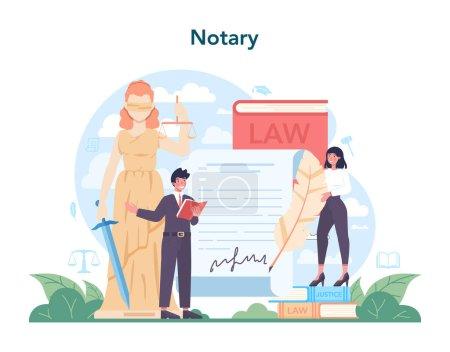 Concepto de servicio notarial. Abogado profesional firma y legaliza papel
