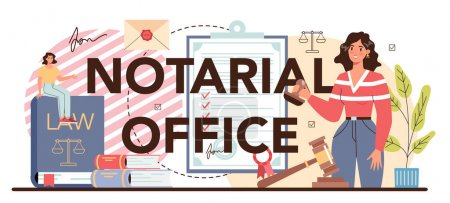 Encabezado tipográfico notarial de oficina. Abogado profesional firma y legaliza