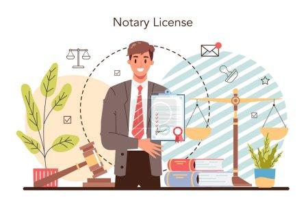 Concepto de licencia notarial. Abogado profesional firma y legaliza papel