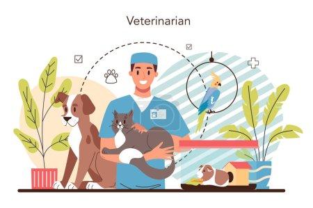 Photo pour Concept vétérinaire pour animaux de compagnie. Médecin vétérinaire vérifiant et traitant des animaux. Idée de soins pour animaux. Traitement médical et vaccination des animaux. Illustration vectorielle plate - image libre de droit