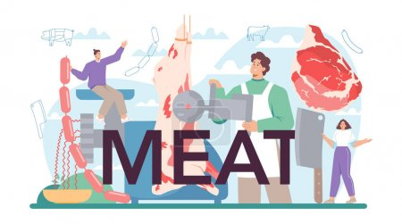 Illustration pour Meat typographic header. Fresh meat and semi-finished products with ham and sausages, beef and pork production. Meat market worker. Isolated vector illustration - image libre de droit