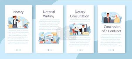 Notario servicio de banner de aplicación móvil conjunto. Firma de abogado profesional
