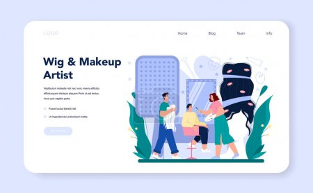 Illustration for Make up artist web banner or landing page. Professional artist applying cosmetics on the face and putting on a wig. Visagiste doing makeup to a model using a brush. Flat vector illustration - Royalty Free Image