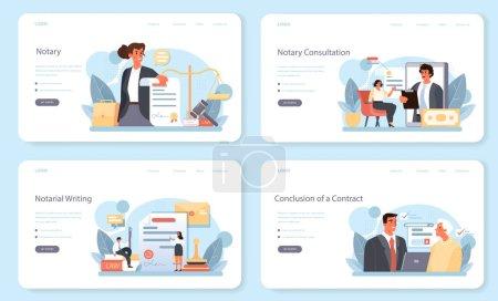 Banner web de servicio notarial o conjunto de landing page. Firma de abogado profesional