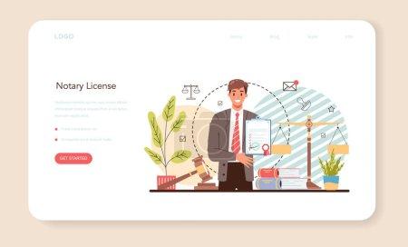Banner web de licencia notarial o landing page. Firma de abogado profesional