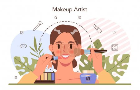 Illustration for Make up artist concept. Professional artist doing a beauty procedure, applying cosmetics on the face. Visagiste doing makeup to a model using a brush. Flat vector illustration - Royalty Free Image