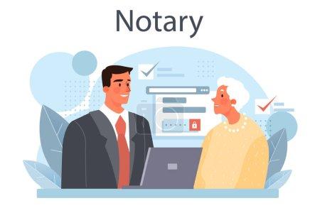 Concepto de servicio notarial. Abogado profesional firma y legaliza