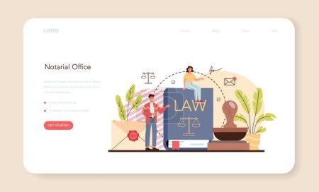 Banner web de servicio notarial o landing page. Firma de abogado profesional