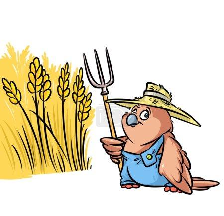 Sparrow bird farmer grain field  cartoon